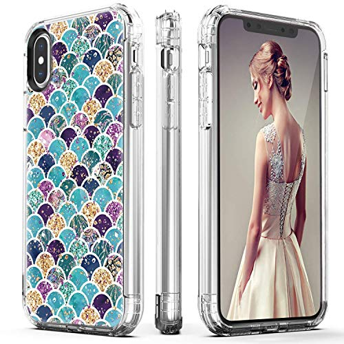 DOUJIAZ iPhone Xs Max Case, Flashing Mermaid Scale Pattern Hybrid Hard Back Soft TPU Raised Edge Shock Absorption Protective Case for iPhone Xs Max 6.5 inch (2018) -Shiny Scales