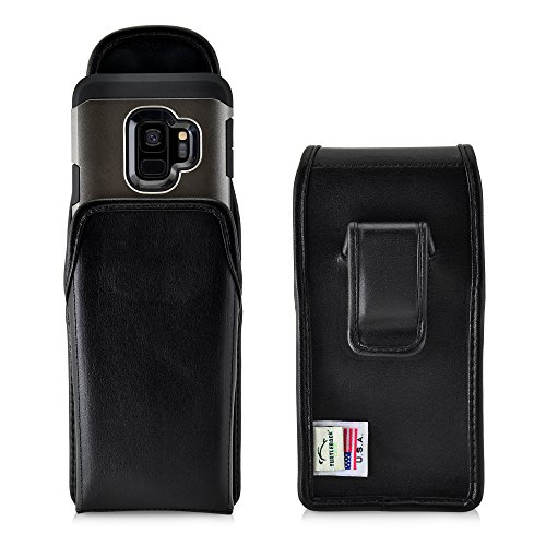 Turtleback Holster Compatible with Samsung Galaxy S8, Galaxy S9 Black Vertical Belt Case Leather Pouch with Executive Belt Clip Made in USA