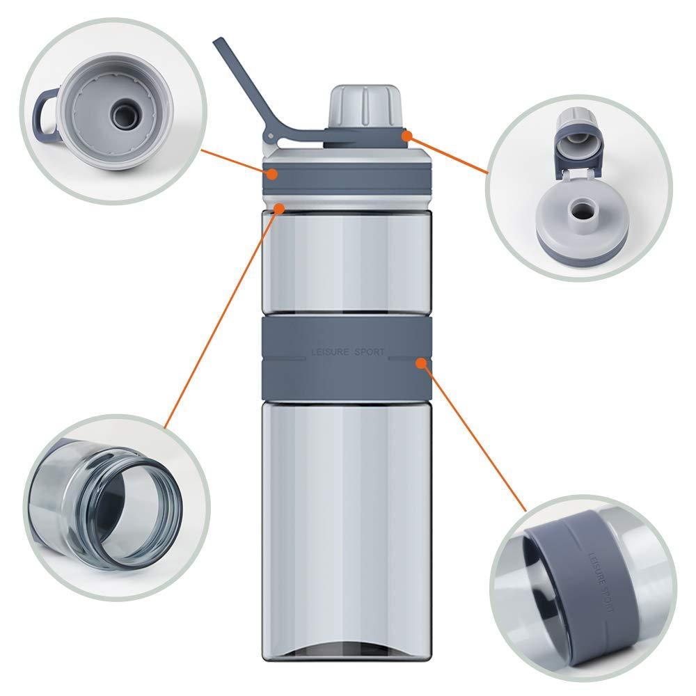 Correr Botella de Agua para Deportes 600ml Senderismo Pl/ástico Reutilizables Flujo R/ápido Water Bottle para Ciclismo Azul Yoga