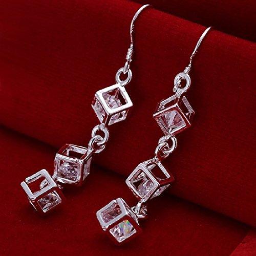 Tzou Women's Square Cubic Zirconia Bow Earrings - Dangling Bow