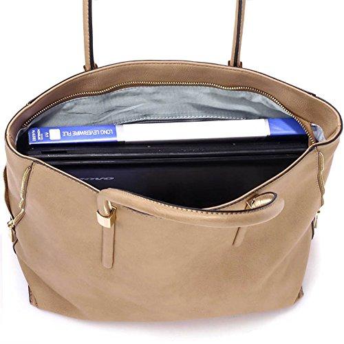 LeahWard® Große Größe Käufer Handtaschen nett Groß Taschen Reißverschluss Detail Käufer Taupe Reißverschluss Detail Taschen LB1d4