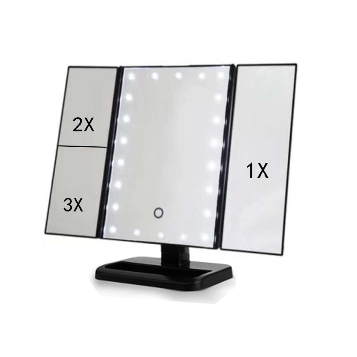 J&A New LED Table Top Storage Vanity Mirror, Tri-Fold Illuminated Vanity Mirrorwith 3x/2x Magnification, Dimmable Light, Touch Screen, 180° Adjustable Rotation Mirror For Bathroom