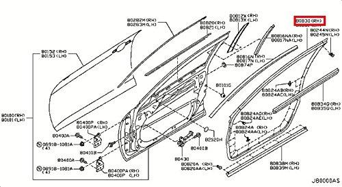 - Infiniti Genuine Panel Fitting Front Door Right Weatherstrip 80830-JU40B G35/37/25 SEDAN