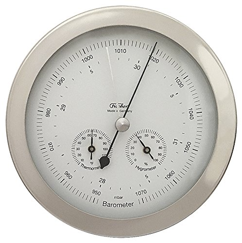 (Fischer Weather Station with Barometer, Thermometer (°F) & Hygrometer, Stainless Steel, 6.3