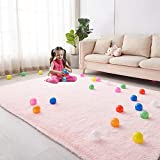 Soft Area Rug for Girls Bedroom, 4'X6' Pink Rug for
