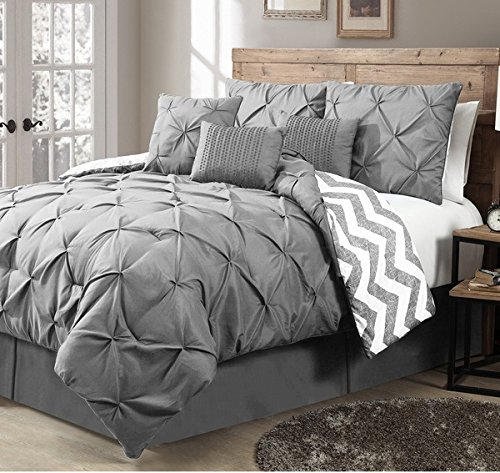 Designer Home Fashion 7-Piece Pinch Pleat Hypoallergenic Comforter Set, King, Grey by OS