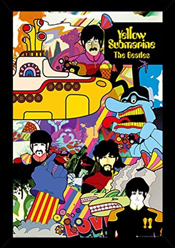 The Beatles Yellow Submarine Poster in a Black Poster Frame