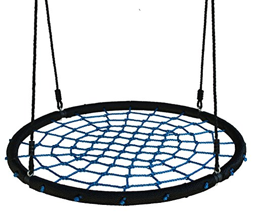 "Movement God Spider Web Tree Swing with Adjustable Hanging Ropes - Extra Large 40"" Diameter Kids Indoor/Outdoor Round Net Swing - Super Strong Holds 600 lbs (Blue)"