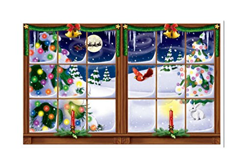 SNOWY WINDOW Scene Setter Christmas holiday winter party wall decor kit 5' HOLIDAY SEASON