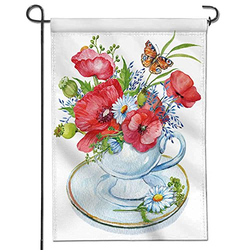 AmaPark Sweet Summer Garden Flag Cup with a Bouquet of Flowers Illustration of Watercolor red Poppies and Wildflowers Daisies and Stripes Seasonal Banner Print Both Sides 12