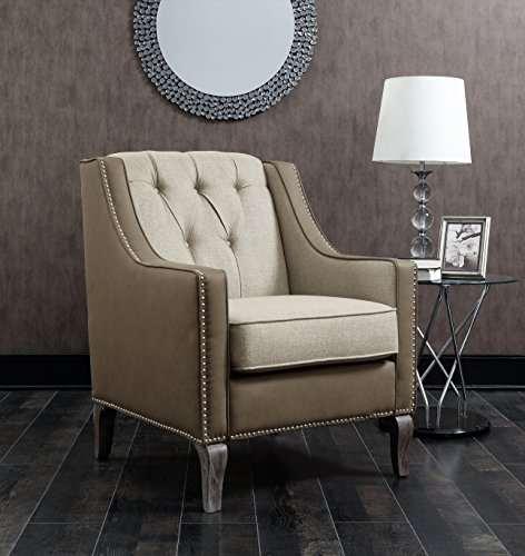 Iconic Home FAC2705-AN Mixed Material Linen Leatherette Nailhead Ethan Accent Chair, Beige