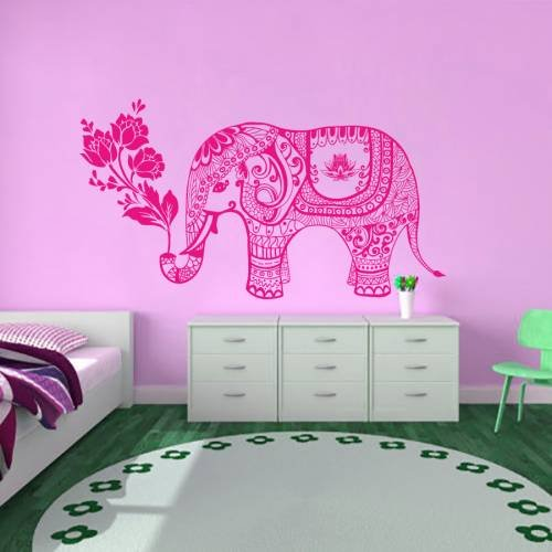 Wall Decals Vinyl Sticker Elephant Flowers Indian Animals Ma
