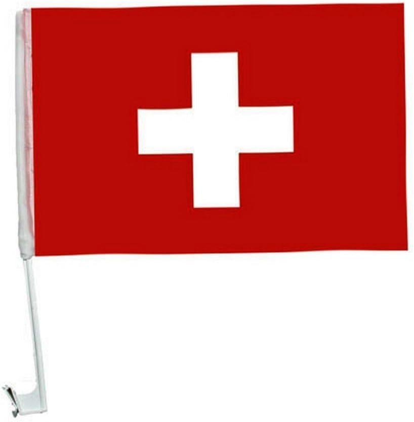 1 X Autofahne Autoflagge 45 X 30 Schweiz Auto Fahne Fahnen Flagge Flaggen Em 2016 Mit Halterung Sport Freizeit
