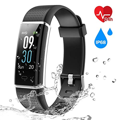 CHEREEKI Fitness Trackers, Heart Rate Monitor Activity Tracker Fitness Watch with IP68 Waterproof, 14 Sports Modes Smart Band, Color Screen, Calorie Counter, Sleep Monitor for Kids Women Men (Black)