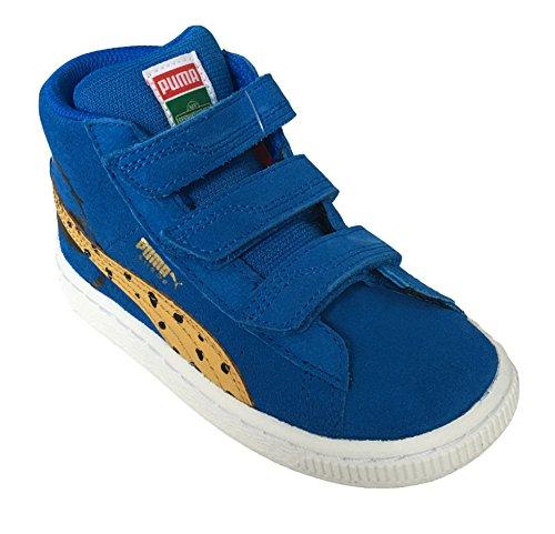 PUMA Sesame Street Suede Mid Kids Sneaker (Toddler/Little Kid/Big Kid), Electric Blue Lemonade/Bright Gold, 3 M US Little (Sesame Street Toddler Shoes)