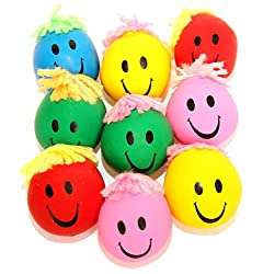"12 Pack Stress Balls | 1 Dozen 2"" Inch Neon Smile Face Happy Squeeze & Stress Balls With Yarn Hair 