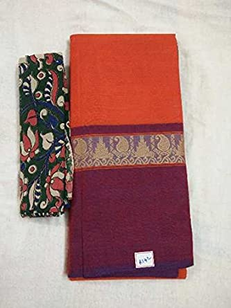 fc2683bd4e Image Unavailable. Image not available for. Colour: Chettinad Cotton Saree  With kalamkari blouse piece