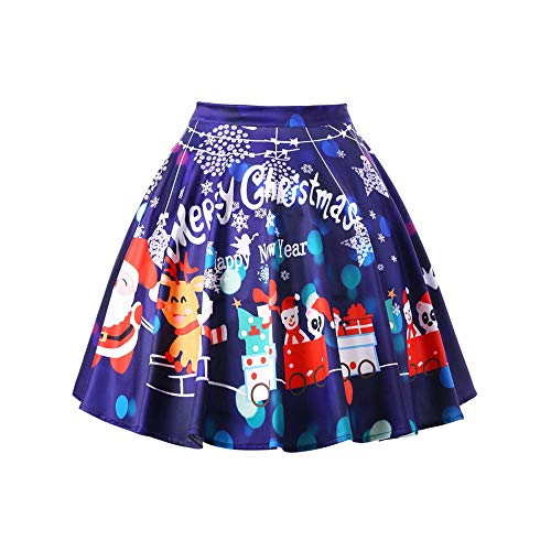 mas Santa Flare Print High Waist Knee Skirt Cosplay Ball Gown Skirt ()