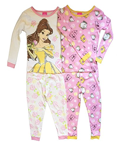 Disney Princess Belle Little Girls Toddler 4 Pc Cotton Pajama Set (5T)