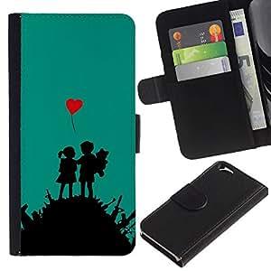YiPhone /// Tirón de la caja Cartera de cuero con ranuras para tarjetas - Amor Guerra - Apple Iphone 6