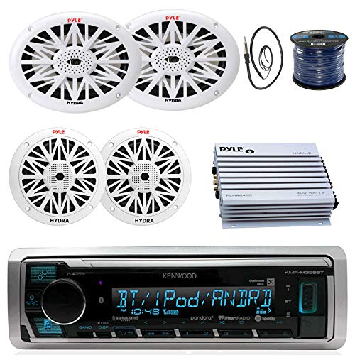 Kenwood Marine Digital Media Bluetooth Receiver, 2X Pyle 6.5'' Water Resistant Speakers, 2X Pyle 6x9 White Marine Speakers, Pyle 4 Channel Waterproof Amplifier, 50 FT 16-G Tinned Wire, Antenna