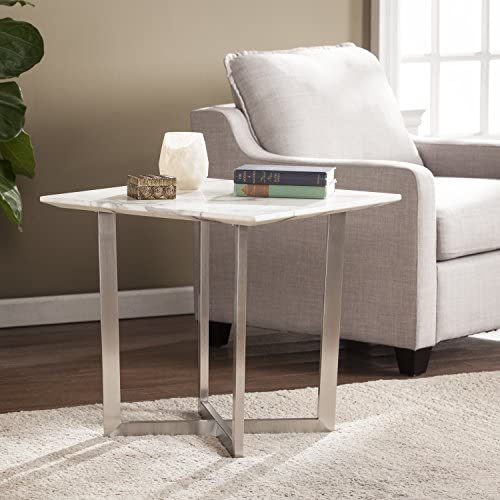 SEI Furniture Wrexham Faux Marble End Table, Soft Ivory Gray Brushed Nickel