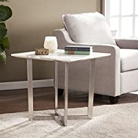 Southern Enterprises Wrexham Faux Marble End Table, Soft Ivory with Gray Finish