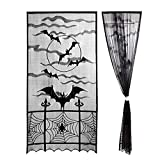Morinostation 2pcs Black Halloween Decorations Spider Web Lace Window Curtain Valance,Spooky Bats Door Curtain Panel for Halloween Home Party,40 by 84 inch Review