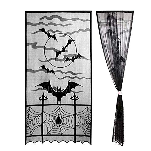 Morinostation 2pcs Black Halloween Decorations Spider Web Lace Window Curtain Valance,Spooky Bats Door Curtain Panel for Halloween Home Party,40 by 84 inch ()