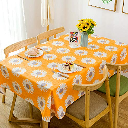 American Sunflower Design Orange Tablecloth Cotton Canvas 39 x 55 inches Dust-Proof Antistatic Environmental Protection Table Covers for Family Daily Dinning ()