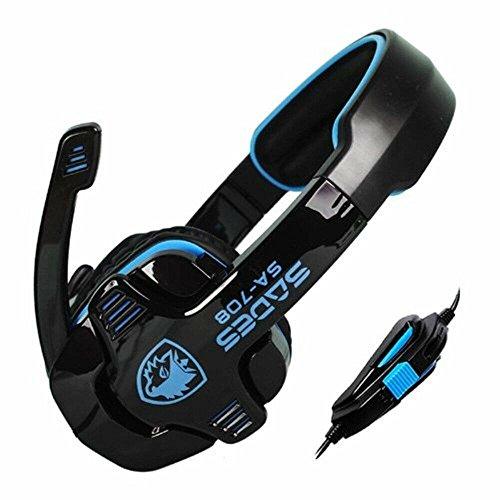 SADES SA-708 Stereo Gaming Headphone Headset with Microphone (Blue) Leather Universal Radio