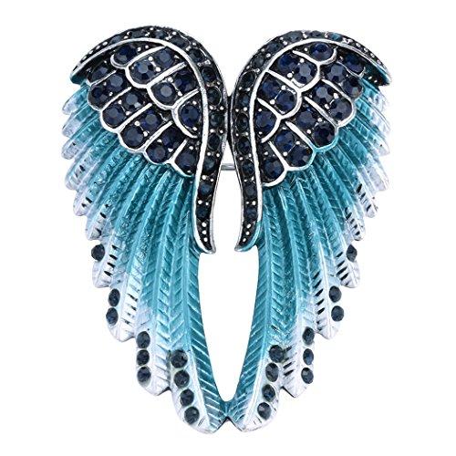 Szxc Jewelry Women's Guardian Crystal Angel Wings Pin Brooches Pendants