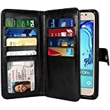 NEXTKIN Galaxy On5 Case, Leather Dual Wallet Folio TPU Cover, 2 Large Pockets Double flap Privacy, Multi Card Slots Snap Button Strap For Samsung Galaxy On5 G550 G500 - Black