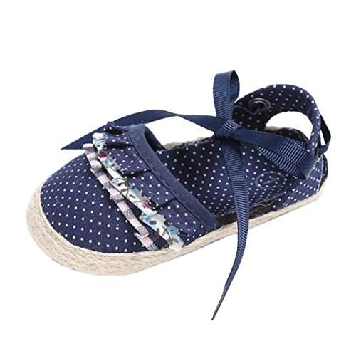 GBSELL Toddler Infant Baby Girl Dot Bow Soft Flat Sneakers Shoes Sandals (Blue, 0~6 Month)