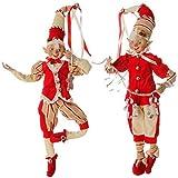 RAZ Peppermint Kitchen Elves 16'' High - Set of 2 Poseable Raz Elves