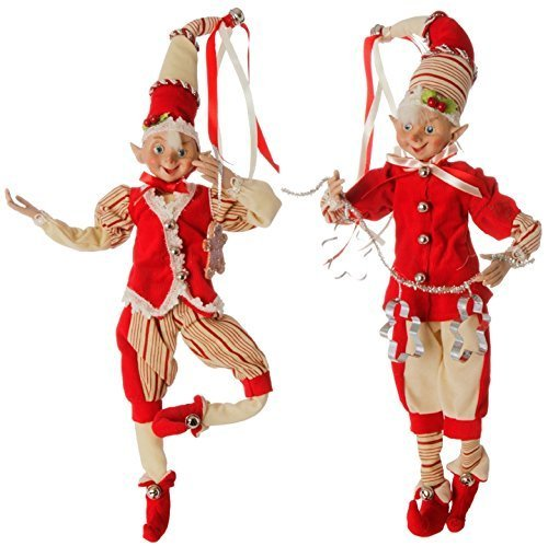 RAZ Peppermint Kitchen Elves 16'' High - Set of 2 Poseable Raz Elves