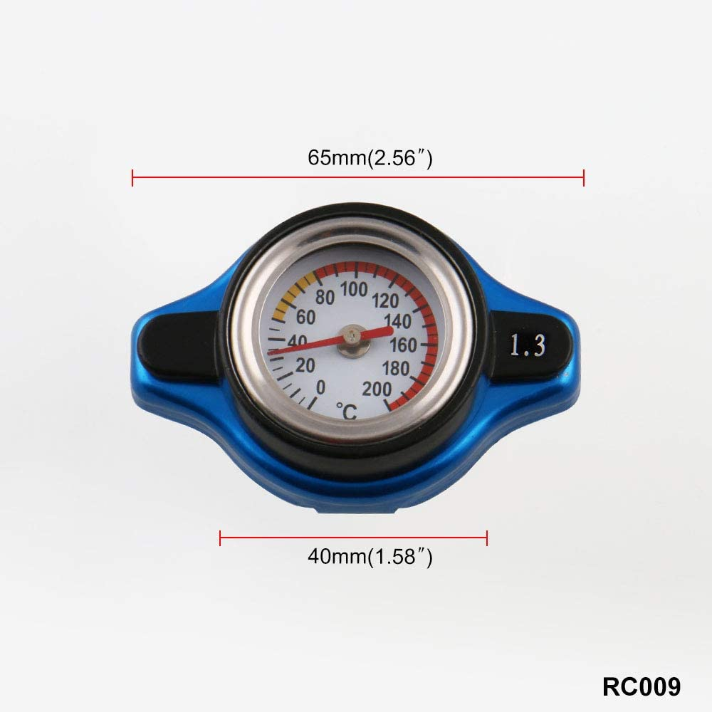 Sporacingrts Small Head Temperature Gauge with Utility Safe 1.3 Bar Thermost Radiator Cap Tank Cover
