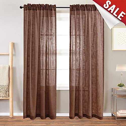 Linen Look Sheer Window Curtains for Living Room 84 inch Length Curtain for Bedroom Drapes Rod Pocket Window Treatment Set2 Panels Brown