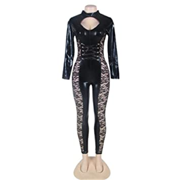 wellchenli Sexy Lace PU stitching jumpsuit Night Club dress DSS suit Leather dress Stage costumes