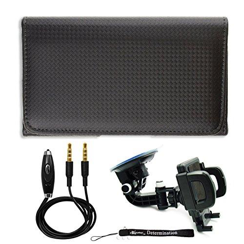 Protective Black Carbon Leather Belt Clip Holster for LG Q9 G7 Fit K11 Plus K11+ K11a Candy X5 V35 ThinQ K30 + Windshield Car Mount & AUX Cable