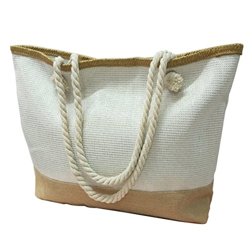 (Utop Large Travel Straw Beach Tote Bag Cotton Rope Handles, Waterproof Lining and a special pocket inside (Style 07))