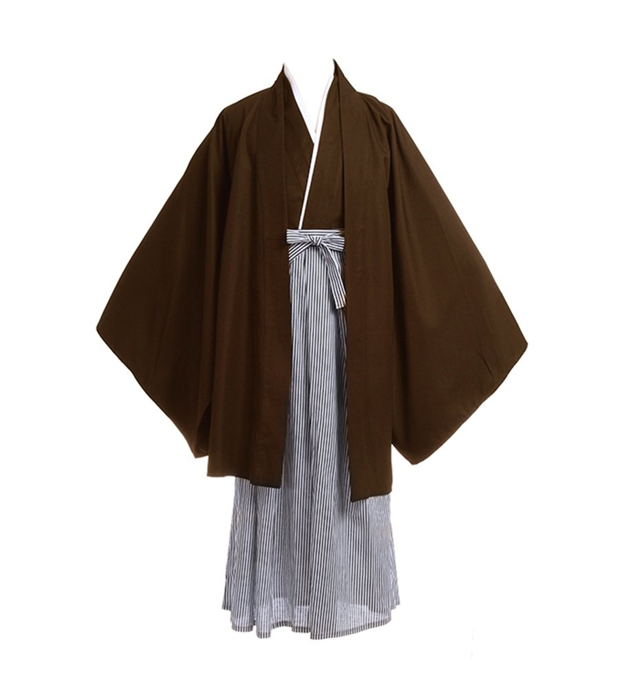 Lemail Mens Japanese Traditional Samurai Hakama Uniform Black Warrior kimono Robe Brown