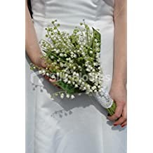Stunning Ivory Lily of the Valley Bridal Bouquet with White Lace