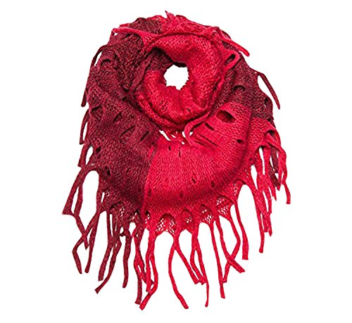 Wine Accessories Mix (Peach Couture Warm Bohemian Crochet Hand Knitted Fringe Infinity Loop Scarf Wrap Wine)