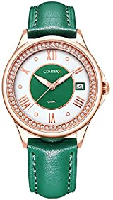 Comtex Women's Analog Quartz Casual Wrist Watch with Green Leather Band