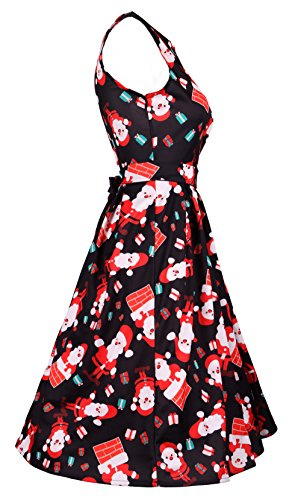 and Cocktail Party Blacksanta DREAGAL Fit Women Sleeveless Christmas Flare Belt with Dress Cq1tw