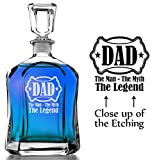 The Man, Myth, Legend Personalized Dad in Shield Whiskey Decanter Custom Man Cave Liquor Decanter Custom Engraved for Fathers Day Gift, Daddy, Papa, Grandpa, Husband Birthday from Son Daughter Wife