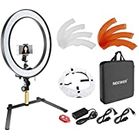 Neewer Table Top SMD LED Ring Light Lighting Kit: 18-inch Outer, Dimmable 5600K Light with Desktop Support Stand, Phone Holder, Color Filter and Diffuser for Photo Studio Video Shooting (US/EU Plug)
