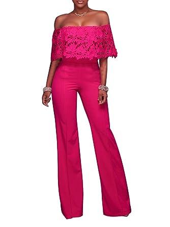 7cbebac22857 FairBeauty Women Casual Sexy Off Shoulder High Waist Long Pant Wide Leg  Ruffle Party Lace Jumpsuits