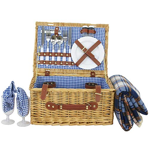 (Mikash 2/4 Person Wicker Picnic Basket Hamper Set with Flatware and Wine Glasses | Model PCNCST - 698 | )